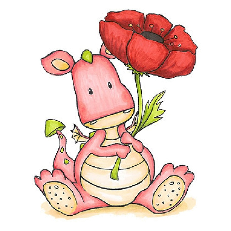 Fergus with Poppy: Illustrations Clipart, Wild Rose, Poppies, Clear Stamps