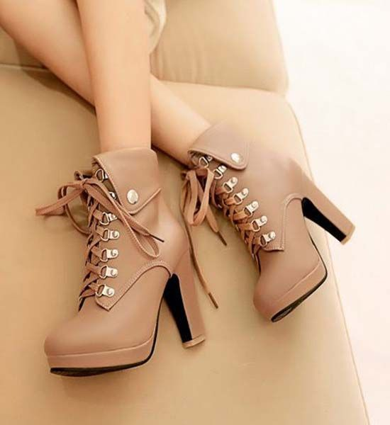 Fashion Round Toe Lace Up Thick High-heeled Booties