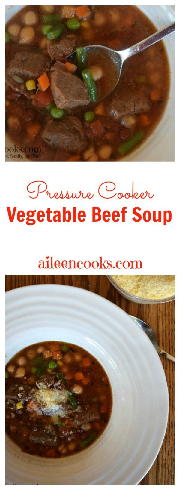 Pressure Cooker Vegetable Beef Stew is a healthy instant pot recipe made with tender beef and vegetables. Recipe from aileencooks.com. Pressure Cooker recipes. Instant Pot Vegetable Beef Soup. Instant Pot Recipes. #beefuptheholidays #ad