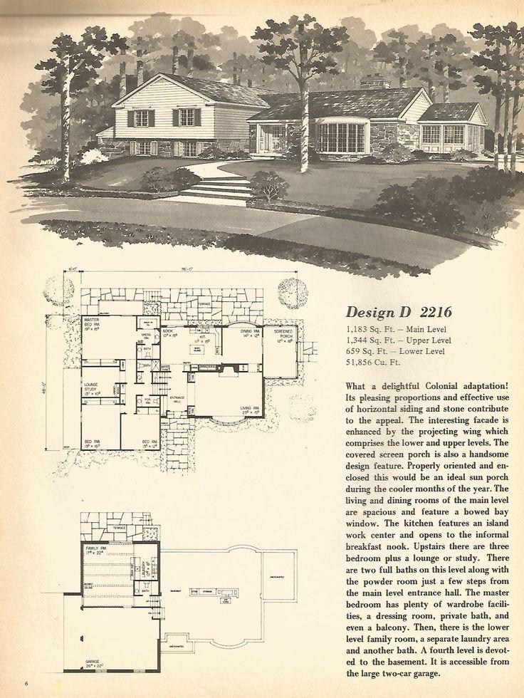 Vintage house plans, mid century homes, split level homes