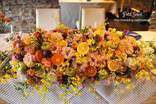 装花 メインテーブル イエロー オレンジ
