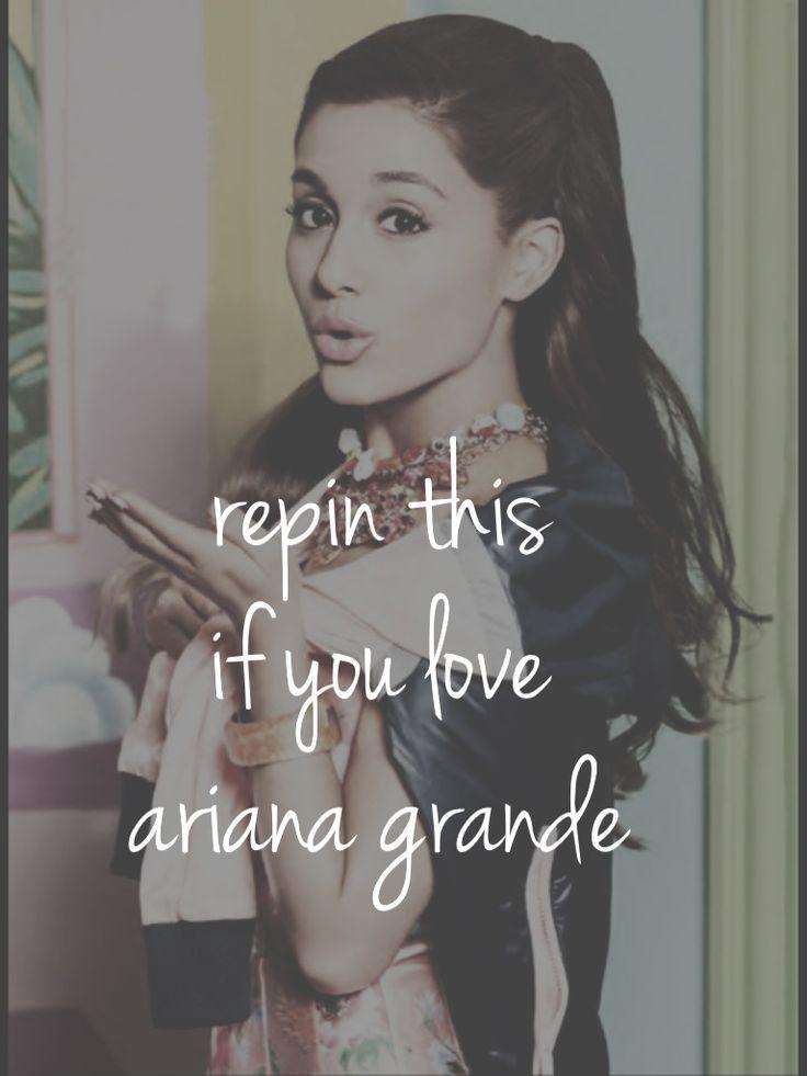 Repin this if you love ariana grande! Cuz I know I do! ❤ @Ariana Bourke Bourke Bourke Bourke Bourke Grande