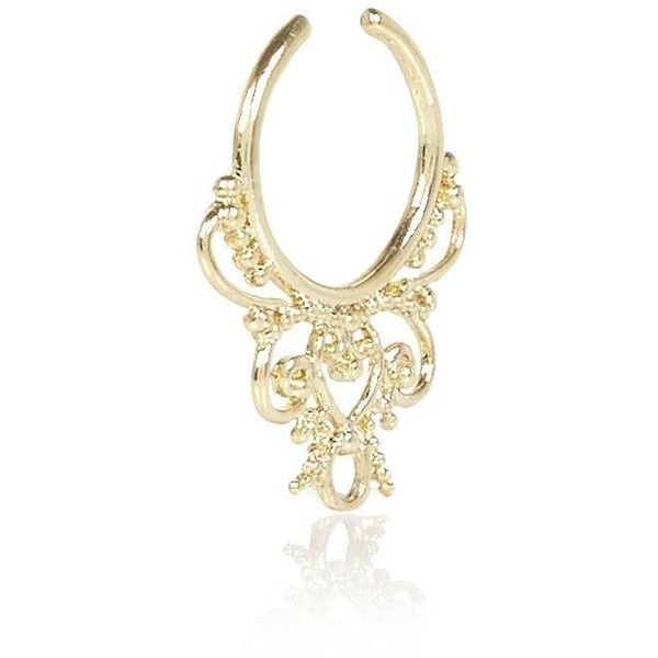 River Island Gold tone filigree nose cuff (195 MXN) ❤ liked on Polyvore featuring jewelry, body jewelry / harnesses, gold, women, gold body jewelry, body jewellery, goldtone jewelry, gold jewellery and gold filigree jewelry