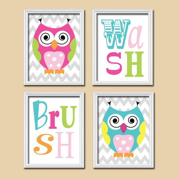 Owl Bathroom Canvas Or Prints Funky Owl Theme Bathroom Wash Brush Bathroom  Rules Child Bathroom Art Kid Bathroom Set Of 4 Whimsical Owl