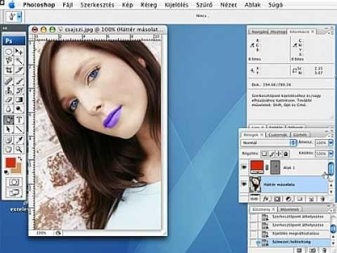photoshop szem, száj szín manipilálás
