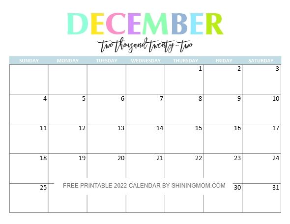 Printable December 2022 Calendar Word.Free Printable 2022 Calendar So Beautiful And Colorful In 2021 Calendar Calendar Printables Calendar Word