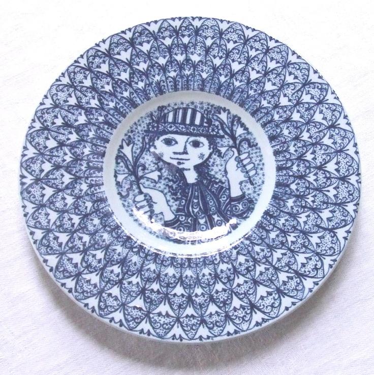 Bjorn Wiinblad Blue Porcelain Plate Wall Hanging.