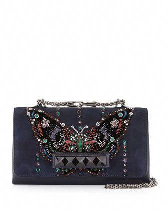 996cbf1125c Resort Handbags at Neiman Marcus. Va-Va-Voom Butterfly Beaded Shoulder Bag  by Valentino at Bergdorf Goodman. #Valentino