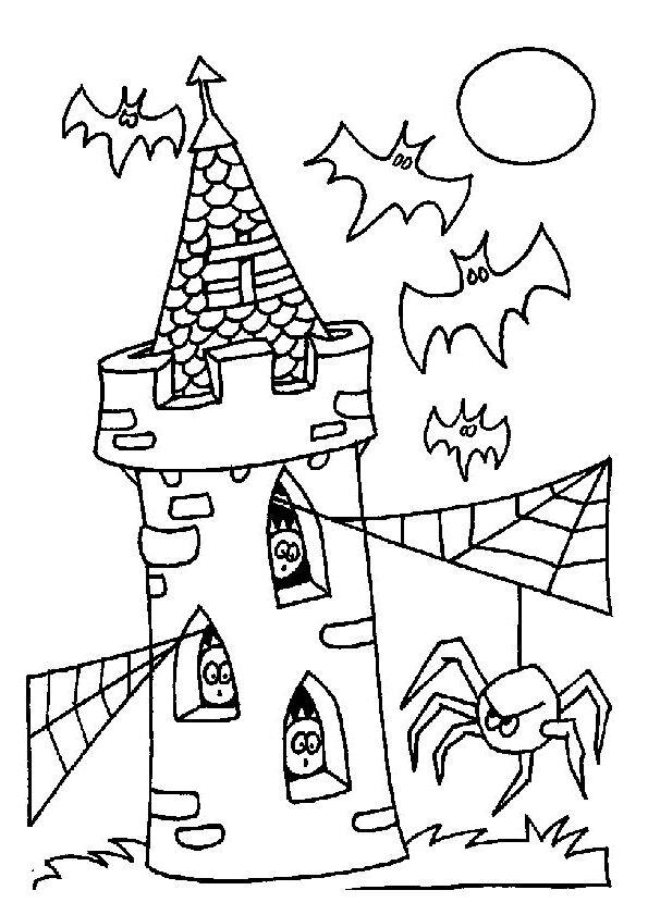 Dessin d'un château avec plusieurs chauves-souris et une araignée en halloween, à colorier