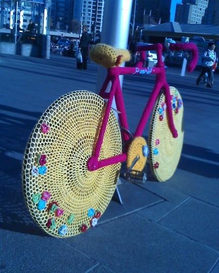 yarn bombed bike!