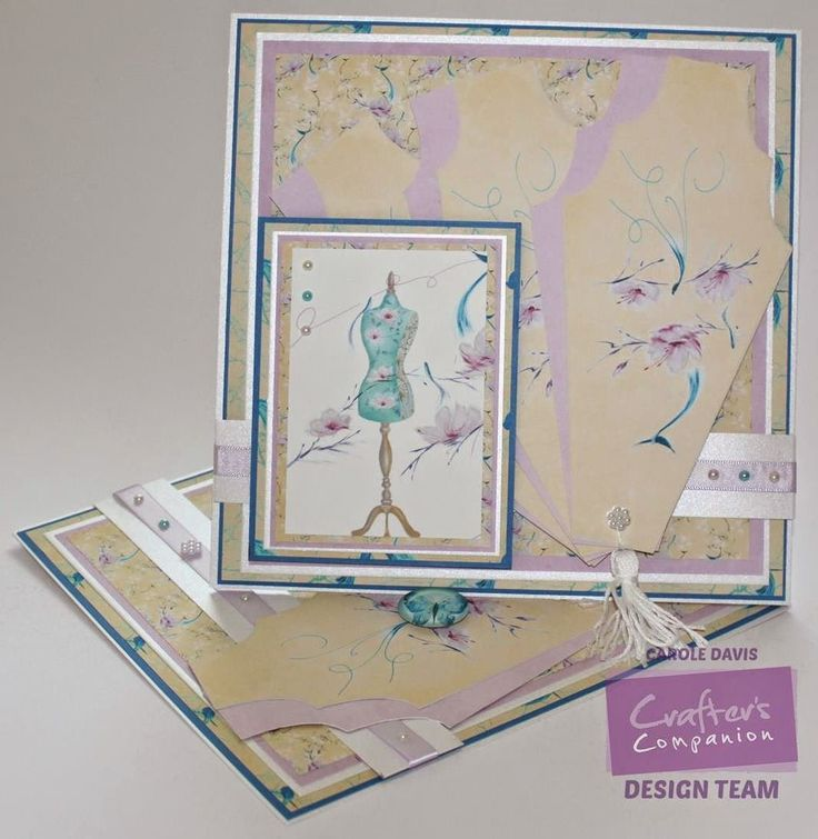 Carole Davis - Kimono CD - 8x8 Twisted Easel Card - Fan Card 2 - Toppers 3, 4 Embellishments 5 - Design Set 3/4, 8,4 - Co-ordinating Paper 1/1 - Fresh White Double Sided Centura Pearl: A3/A4 - Neenah Solar White Card - Satin Finish Paper - Printable Light Card - Collall 3D Glue Gel, Tacky Glue Other: Ribbon, Embroidery Floss, Pearls
