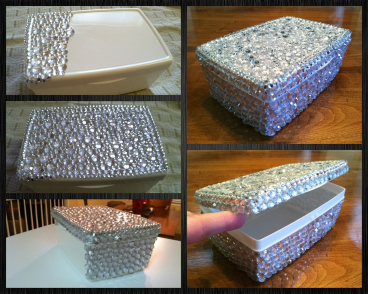 BLING Box: E6000 glue, 4sets of 300pc Acrylic Jewels (4mm-10mm)@Walmart and I had an empty feminine wipes container.  Separated all the sizes first (makes it easier for later). Used a toothpick to spread glue by a window fan *exhaust setting on high...fumes are toxic! Use sticky tip of the toothpick to randomly pickup jewels and place them tightly. Use opposite side of toothpick to push jewel down to set in the glue. Costs about 20.00. LOVE my new Q-tip container for the bathroom.