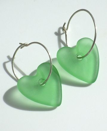 Valentines Jewellery; made in New Zealand.  Glass Hearts on sterling silver hoops