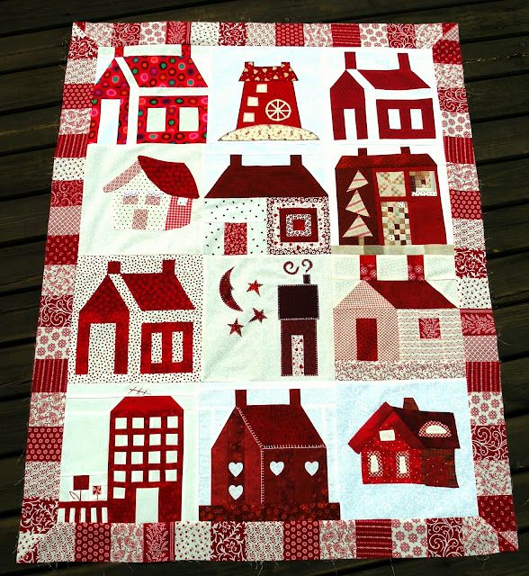 From Quiltycat's blog  Red and White houses.  Charming: Houses Quilts, Quiltycat Blog, White Houses, Adorable Houses, Quiltycat House, Quilts Houses, Houses Building, Blog Red, Red Houses