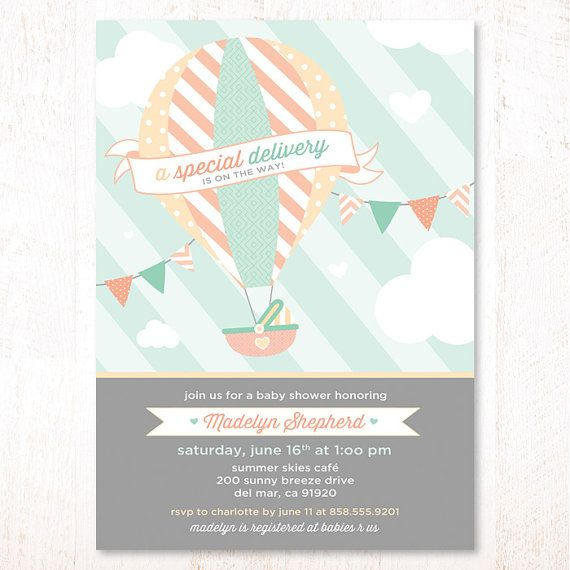 Hot Air Balloon Baby Shower Invitation Mint amp; Peach  PRINTABLE or