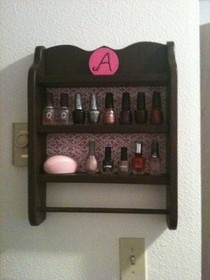 Nail polish storage- I could find one these at thrift store repaint then BAM. My own masterpiece