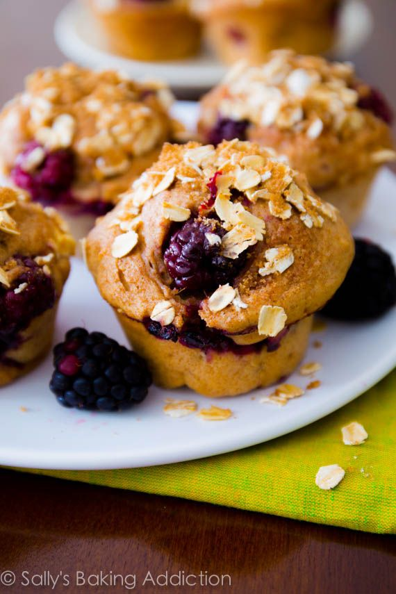 Sky High Blackberry Apple Muffins. Super flavorful, healthy muffins - you won't miss all the fat and sugar!