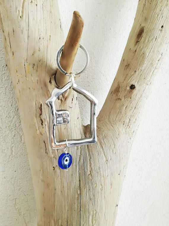Silver house keychain aluminum house outline key ring with