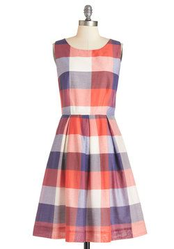 Chalk of the Town Dress in Plaid. Your block party comes to life with the vibrant hues painted across the sidewalk, as well as those that decorate this sleeveless dress - a ModCloth exclusive by Bea  Dot! #multi #modcloth