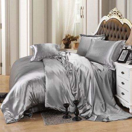 Unique Bargains Bathroom Silk Blend King Size Duvet Cover Pillowcase Sheet Bedding Set Gray Image 4 of 7