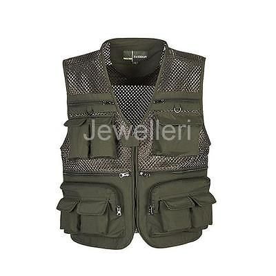 Multi Pocket ARMY GREEN Outdoor Fishing Photography Hunting Mesh Vest Coat X-4XL