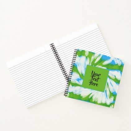 Groovy Green Blue Tie Dye Swirl Notebook - blue gifts style giftidea diy cyo