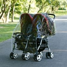 Double Stroller Rain Cover fits most side-by-side double strollers/buggies.  Air vents for good ventilation and convenient storage pocket. From Diono. #babygear #stroller #kids