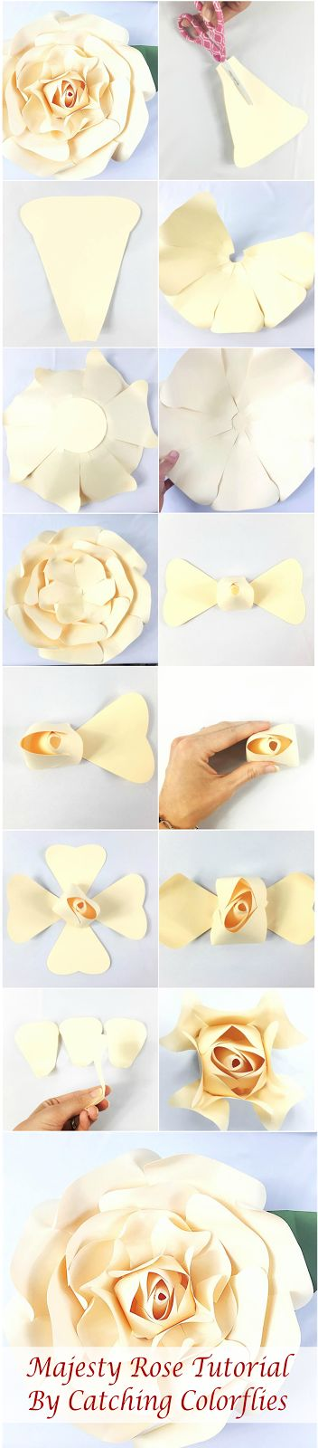 How to Make a Giant Paper Rose. Paper Flower Templates and Patterns. Paper Flower Tutorial. Giant Flower SVG Cutting FIles. Easy paper flower tutorial. http://catchingcolorflies.com/ #DIY