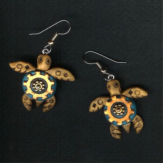 Steampunk Dainty Sea Turtle Earrings Polymer Clay Jewelry