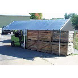 """12'8"""" W X 29'9"""" L Canopy - 17 Gauge Heavy Duty Frame by HARPSTER OF PHILIPSBURG. $419.95. CANOPY WITH HARPSTER TARPS This canopy has a 17 gauge Heavy-duty Frame frame and comes with silver tarp. Lightweight and durable tarps are made from high-density polyethylene woven into fabric and laminated on both sides and reinforced with a rope in the hem. Water and mildew resistant. Heat-sealed on all sides. UV treated HD plastic grommets."""
