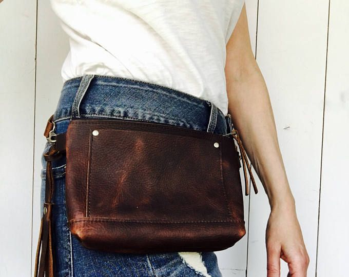 Leather Pack Hip Bag Brown Belt Travel Pouch Festival