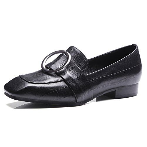 Onlymaker Ladies Fashion Leather Square Toe Oxfords Round Bucke Decoration  Loafer Shoes Black US10