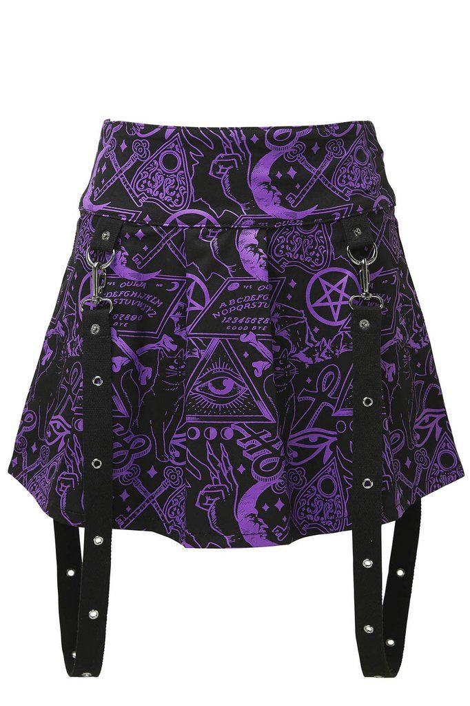 Miss Morbid Mini Skirt [B] | KILLSTAR The world is a truly magical place - all you have to do is look. The 'Miss Morbid' mini skirt is as cute as it is playful, pleated body in a comforting cotton-twill blend, wide waistband and a magical repeat-print in striking violet. With D-ring detailing and detachable bondage straps - zipped on back for easy on/off. Adds a splash of colour in the black void - purrfect for festivals, parties or just the usual hang-out places.