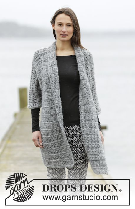 Loch Ness Jacket By DROPS Design - Free Crochet Pattern - (garnstudio)