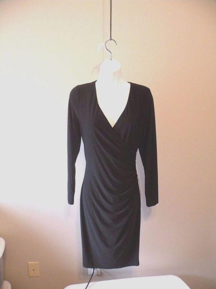 NWOT $95 Chaps Surplice Faux-Wrap Sheath Dress Black Sz L 12/14 #Chaps