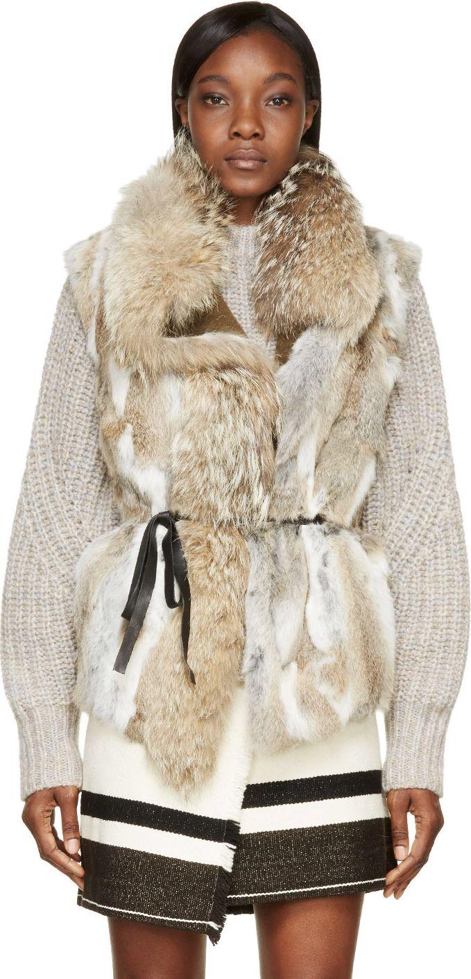 Isabel Marant Beige Fur Astia Steppe Vest & skirt