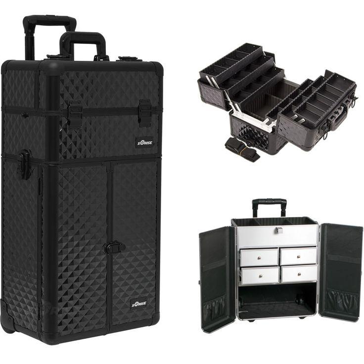 Makeup Storage Box Train Make Up Cosmetic Luggage Organizer Rolling Beauty Case #Sunrise