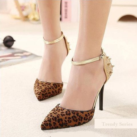 "LEOPARD HIGH HEELS SEXY WOMEN PUMPS POINTED TOE RIVET RHINESTONE SHOES ""TRENDY SERIES"" $65   #Fashion #womenshoes #shoes"