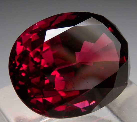 """Raspberry Rhodolite"" garnet from Tanzania. This 17.49 ct. stone has excellent color for the size, which normally get very dark red in color when they reach this size."