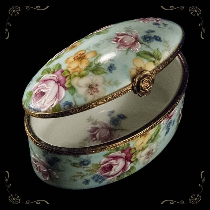 Limoges France Hand Painted Trinket Jewelry Box