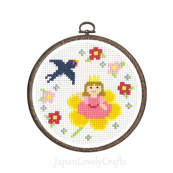 Japanese Cross Stitch Kit Tutorial, Fairy Tale, Thumbelina, Beginner Embroider, Cute Hand Embroidery Kit, Kawaii Embroidery Wall Art, JapanLovelyCrafts