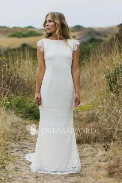 6a384434e Bateau Lace Cap Short Sleeve Wedding Dress | dresses | Lace mermaid ...