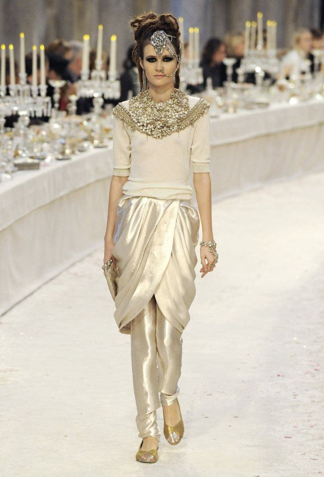 This outfit was inspired by the Egyptian's Schenti. (A wrapped skirt). Chanel Pre-Fall 2012 Collection.