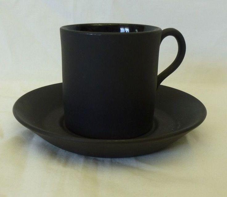 Vintage Wedgwood Black Basalt Demitasse Espresso Cup and Saucer Matte Marked