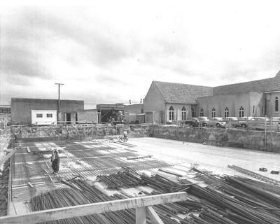 The site for the State Insurance building in Hinemoa Street, c1964 Methodist Church next door.