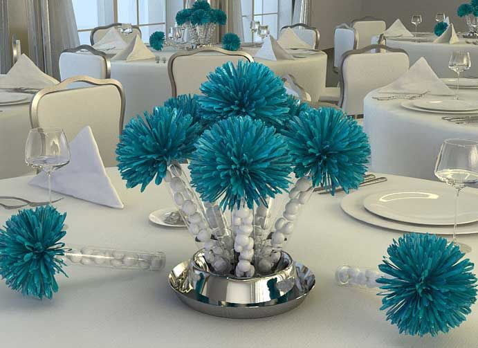 Centerpiece doubling as favours and a marvellous white-silver-turquoise palette...