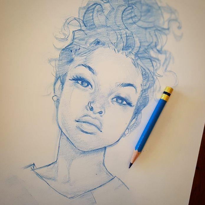 Dibujo chica lapiz azul moño recogido pelo rizado piercing nariz