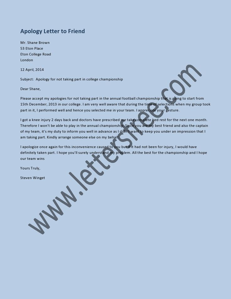 Apology letter for misconduct