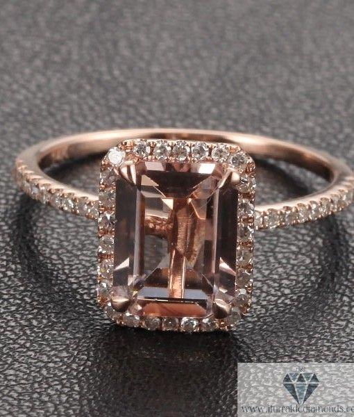 emerald cut morganite engagement ring rose gold diamond pave #wedding