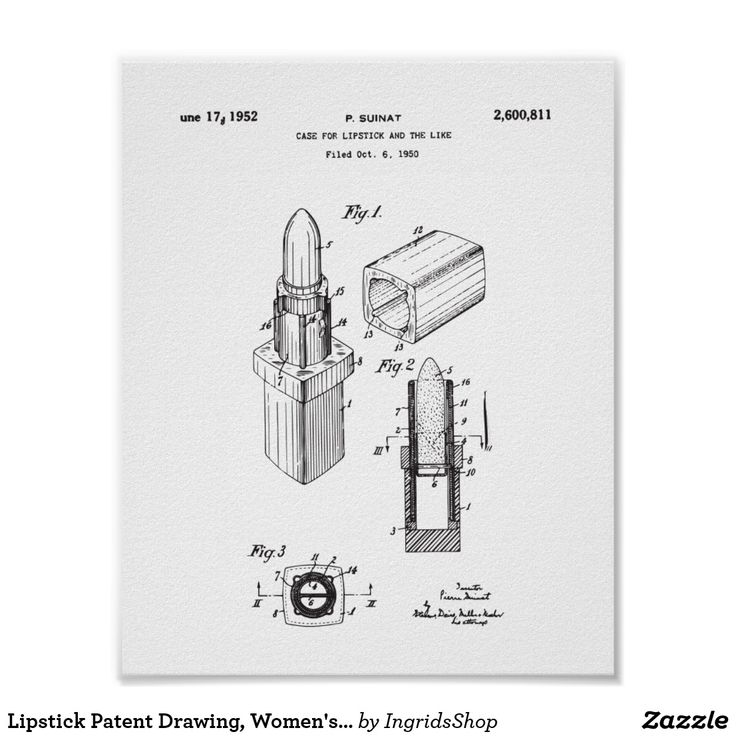 Lipstick Patent Drawing, Women's Bedroom Decor